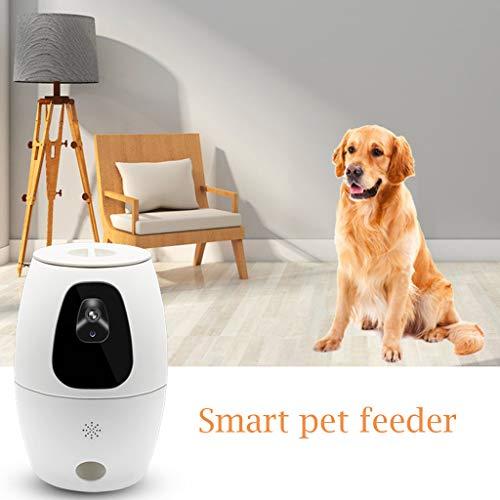 Futterautomat, Smart Automatic Pet Feeder Hund Katze Feeder WiFi HD-Video mit 2-Wege-Audio,Automatischer Futterspender für Katze und Hund, Futterautomat mit Timer, Automatischer Futterspender (Weiß)