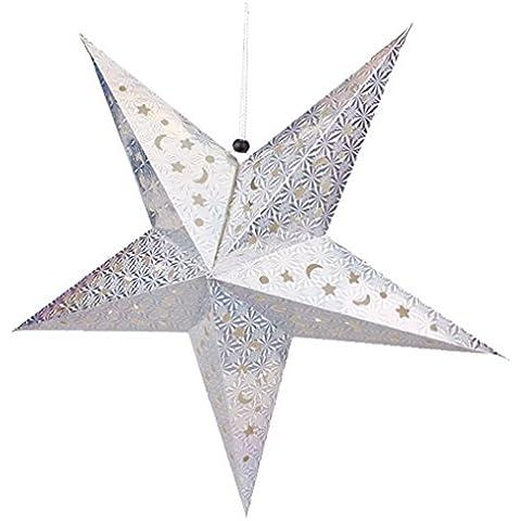 QHGstore 30 / 45cm Papel Estrella brillante pantalla de lámpara de la decoración del arte para la decoración de la boda decoración de Navidad de colores 30cm de plata