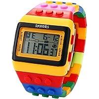 v_esafe Unisex Jungen mädchen LED Regenbogen elektronische sportuhren multifunktionale silikonband armbanduhren Student Geschenk (A)