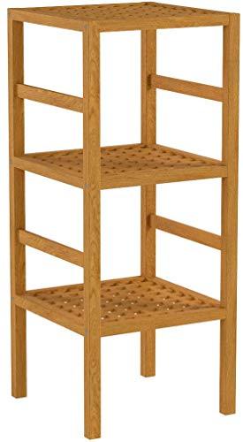 Estantería de madera con 3 pisos de tamaño: 85 x 35,5 cm soporte de estantería de madera de nogal con acabado al aceite de madera de estilo escandinavo 3-pasteles natural de la madera de madera maciza para el baño, la cocina, el pasillo, sauna, colour marrón