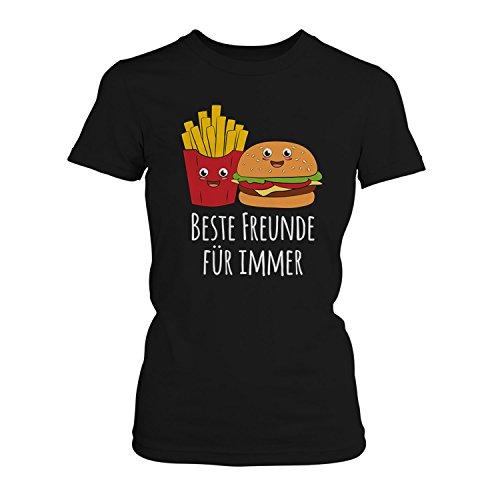 Fashionalarm Damen T-Shirt - Beste Freunde für Immer   Pommes Frittes & Burger   Fun Shirt als lustige Geschenk Idee für Fast Food Fans, Farbe:Schwarz;Größe:M