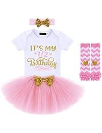 Edjude Vestido Bebé Niña Fiesta de Cumpleaños para 1 año 2 año Conjuntos de Ropa Mono+Falda+Diadema 6 Meses
