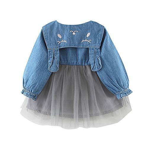 Im Baby Autositz Kostüm - Livoral 2019 Kleinkind Baby Kind Mädchen Tüll Denim Patchwork Hasenohren Kleid Freizeitkleidung(Grau,80) ...