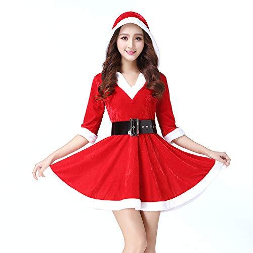 Ambiguity Weihnachtskostüme,Weihnachtskostüm Rollenspiele niedlich Gurt große rote Weihnachten Kleid