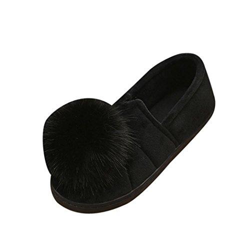 Pantoufles De Coton, Longra Couleur Unie Femmes Hiver Fond Épais Balle Haut Accueil Anti-dérapant Wrap Talon Coton Pantoufles, Chaussures Confinement Noir