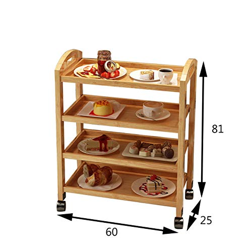Scolapiatti legno massello stenditoio,cremagliera di immagazzinaggio pavimento a tre livelli mensola rack piatto con ruota spinta pranzo auto servizio carrello da salotto-k