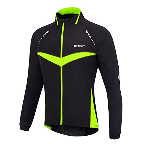 iCREAT Herren Jacket Air Jacket Winddichte Wasserdichte MTB Mountainbike Jacket Visible reflektierend, Fleece Warm Jacket für Herbst, Grün Gr.M -