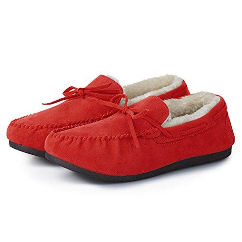 Summer Mae Damen Faux Fur Loafer Sämischleder Schuhe Slip on Flache Mokassins Hausschuhe Fahrschuhe Winter Rot