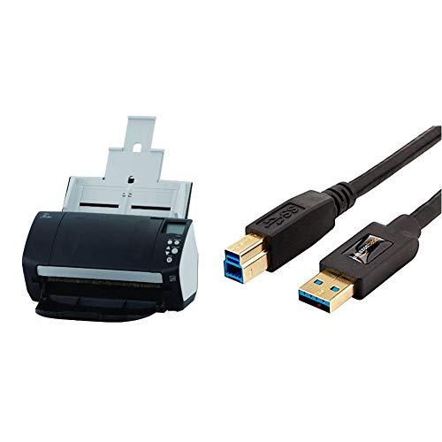 Fujitsu FI-7160 USB Dokument Scanner & AmazonBasics HL-002571 USB-3.0-Kabel, USB-A-auf-USB-B, 2,7m, Schwarz (Fujitsu Netzwerk-scanner)