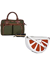 THE MAKER Combo Of Black And Brown Synthetic Leather Office Laptop Bag With White And Orange Synthetic Leather...