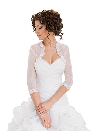 Top jeune mariée dentelle organza boléro veste étole châle Blanc
