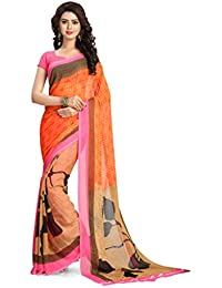 Vaamsi Women's Faux Georgette Saree With Blouse Piece(Vega3141_Orange_Free Size)