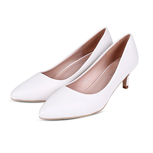 Smiry Women's Sexy White Black Elegant Low Heel Shoes Pointed Toe Silp On Shoes Closed-Toe Pumps PU Leather