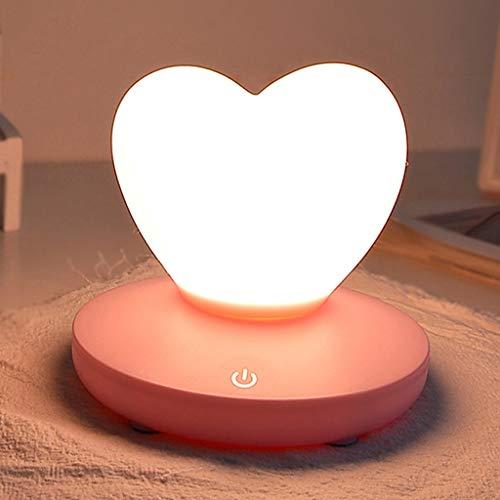Veilleuses Créative À LED en Forme De Coeur, Lampe De Chargement USB, Luminosité Réglable, Lampe De Table Romantique De Chambre À Coucher en Dortoir (Rose)