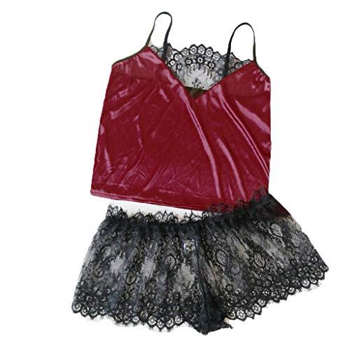 Luxus Seiden-dessous (ABsoar Damen Stain Pyjamas Set Frauen V Ausschnitt Spitze Tops Sexy Unterwäsche Seide Dessous Leibchen Shorts Charming Unterhosen Set)