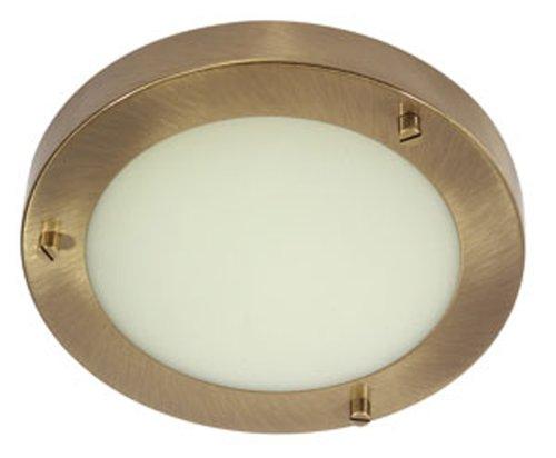 Rondo Badezimmer-Deckenleuchte, G9-Glühbirne, Messing-Antik-Optik