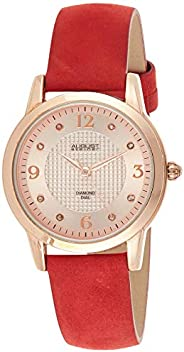 August Steiner Women's As8198Rd Rose Gold Quartz Watch With Rose Gold Dial and Red Suede Leather Strap, An