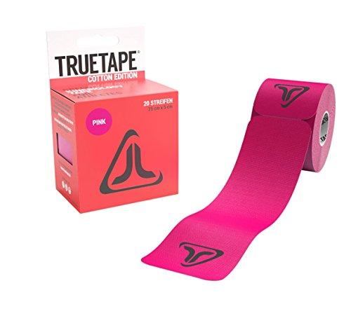 TRUETAPE Cotton Edition elastisches Kinesiologie Tape - 20 vorgeschnittene Kinesio Tape Streifen 25cm x 5cm (Pink) (Knöchel-tab)
