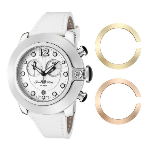 Glam Rock Women's GR32153 SoBe Chronograph White Dial White Leather Watch