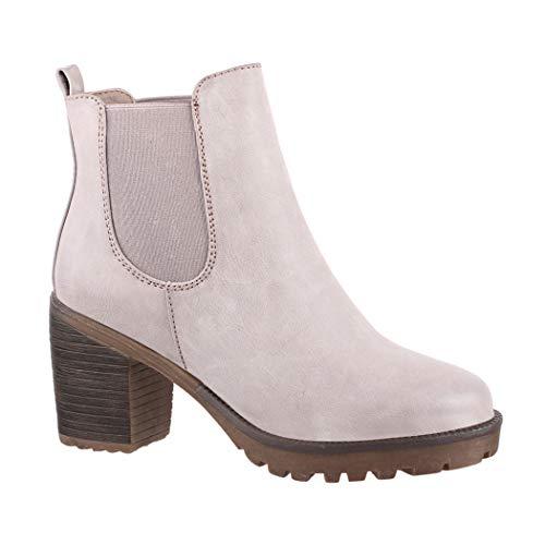 Elara Damen Stiefelette | Bequeme Ankle Boots | Chunkyrayan KA-523sl Dk.Grey-40