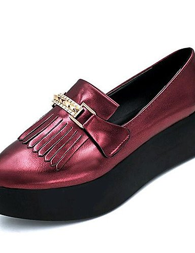 ZQ Scarpe Donna-Mocassini-Tempo libero / Casual-Creepers-Plateau-Finta pelle-Nero / Grigio / Borgogna , burgundy-us6.5-7 / eu37 / uk4.5-5 / cn37 , burgundy-us6.5-7 / eu37 / uk4.5-5 / cn37 black-us5 / eu35 / uk3 / cn34