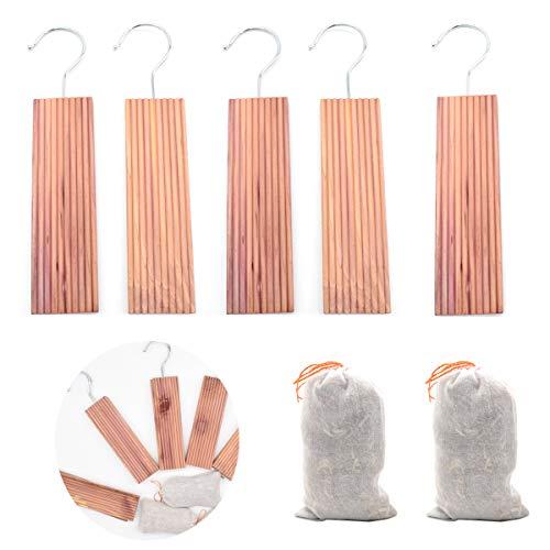 Dancepandas Lot de 5 blocs de bois de cèdre avec crochet métallique contre les mites,à suspendre - Anti-mite et bois de cèdre Sachet Parfumé [two Pack]