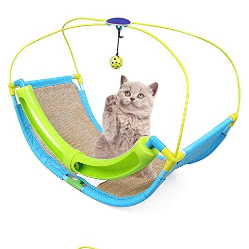 Ball Schiene (Yiwuhu Haustier-Katzenspielzeug-Schienen-Bell-Ball-Klammer mit Bells und Leinen, die Katzen-Spielzeug-Grün Schwingen. Bequem)