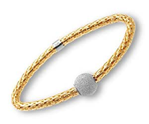 Citerna Yellow Gold Plated Silver Stretch Bracelet with Fancy Glitter Ball 19 cm long