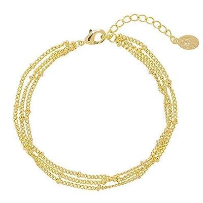 Bracelet multi Chaînes fine avec petite Boules en Plaqué Or