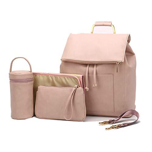 chenpaif Multifunktionale Babywindel Mummy Leder Rucksack Große Kapazität Wickeltasche Daypack mit isolierten Taschen Chaning Pad Rosa