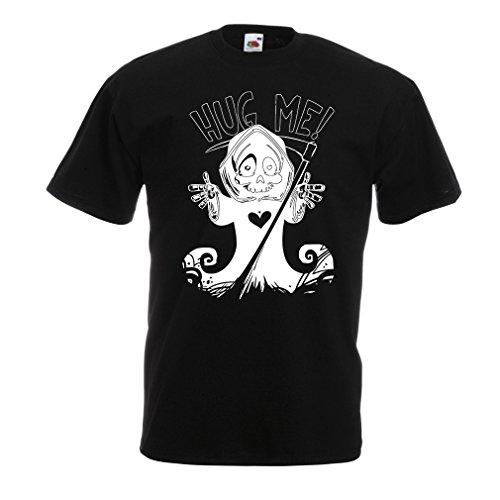 Männer T-Shirt Der Tod kommt! Halloween Skelett Kleidung, böse Schädel Sichel (Medium Schwarz - Halloween-meme Australien