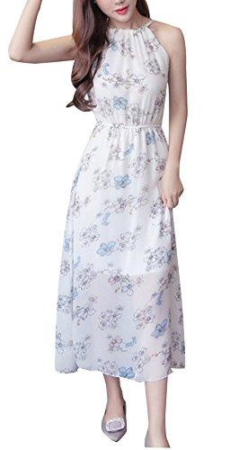Blansdi Femme Maxi Licol Robe de Soirée Cocktail Mariage Plissé Robe de Plage Sans Manches Mousseline de Soie Modèle05