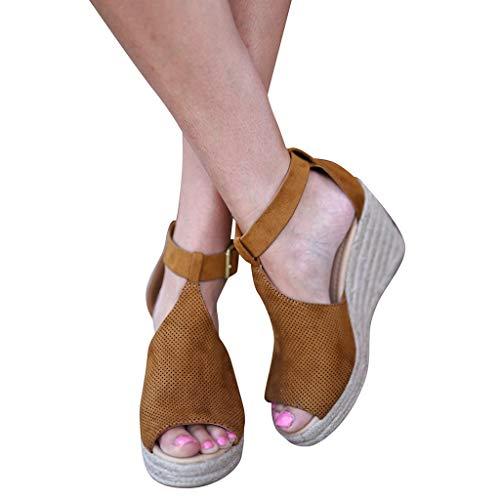 Lucky Mall Frauen Knöchelschnalle Leoparden Wedge Offene Zehensandalen, Damen Herde Party Schuhe Festival Schuhe Sommer Sandalen