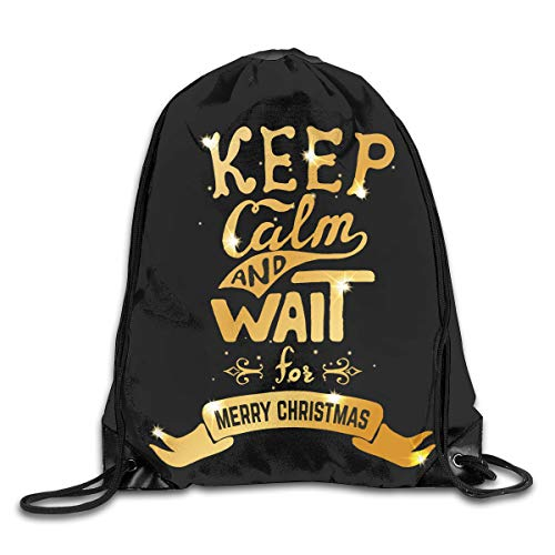 Drawstring Backpack Bags Keep Calm And Wait For Merry Christmas Sport Athletic Gym Sackpack For Men Women