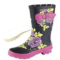 Woodland Ladies Wide Calf Wellies Wellington Boots Plus Extra Comfort Memory Foam Insoles