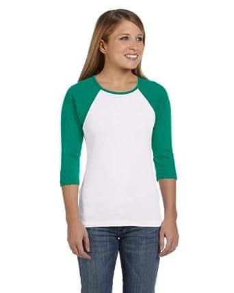 Bella Ladies' Baby Rib 3/4-Sleeve Contrast Raglan T-Shirt, White/Kelly, S