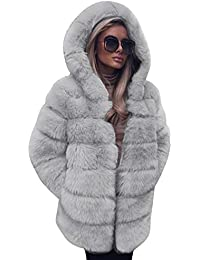 09e8ca7de55f FNKDOR Women Fashion Luxury Fluffy Shaggy Long Sleeve Faux Fur Hooded Coat  Jacket with Pockets Autumn