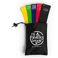 Bandas elásticas fitness   gomas de resistencia para ejercicios de musculación   Set de 5 cintas para entrenamiento funcional, crossfit   cintas tensoras para rehabilitación, pilates, yoga   5 niveles