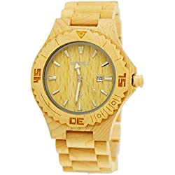 21st Pure Time® Designer Mens Wood Watch with Date in Maple with Wooden Watch Box