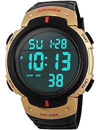 27456443c447 FeiWen Relojes de Hombre Deportivo Digitales Outdoor Militar Tácticas 50M  Impermeable Multifuncional LED Electrónica Plástico Bisel