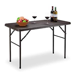 Relaxdays Gartentisch, Holzoptik, eckiger Klapptisch, Kunststoff, Metall, Balkontisch, HxBxT: 74 x 120 x 60 cm, braun