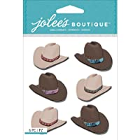 Jolees Boutique Dimensional Stickers, Cowboy Hats Repeats, Acrylic Multicolour, 3.9x5.9x0.18 cm