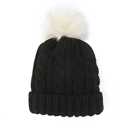 Kuyou Donna Berretto in maglia Cappello Inverno Sci Beanie Cap (Nero)