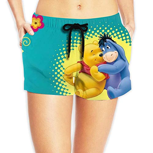 fdghjdyjdty Women Sexy Hot Pants Summer Casual Shorts Winnie The Pooh and Friend Eeyore Short Beach Trousers L (Winnie The Pooh Eeyore Kostüm)