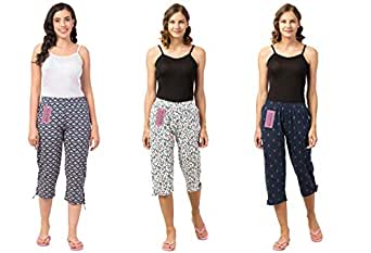 Fflirtygo Women's Cotton Capri, Capri for Women, Nightwear Capri for Women, Printed 3/4 Pyjama(Pack of 3Pcs), Prints May Vary (Assorted Capri)