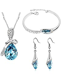 Valentine Gift By Shining Diva Non Precious Metal Jewellery Set for Women (Blue)(rcmb216)