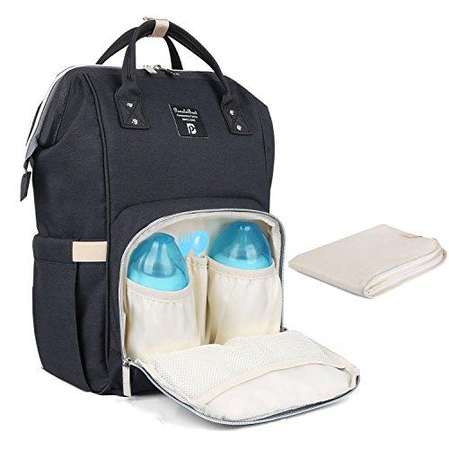 Zaino mamma neonato fasciatoio bambino impermeabile borsa nappy stoffa oxford grande capacità con materassino fasciatoio, 2 tasche isolanti bottiglia per viaggiare mamma papà, nero