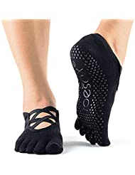 Toesox Full Toe Elle Yoga e Pilates Grip calzino, Unisex, YTOEWTELLEBLACK-S, Nero, S