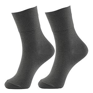 +MD 2 Paar Diabetikersocken Hochwertige Damen & Herren Socken ohne Gummi Gesundheitssocken für Diabetiker 2Grau EU39-42