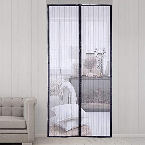 Magnetische Tür mit strapazierfähigem Netz-Vorhang, Anti-Moskitotürnetz mit Magneten, passend für Türgröße bis 99,9-203,9 cm, Terrassenschirme, magische Tür-Netz-Vorhang, schwarz